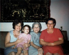 Mom, some cute little girl, Great-Granny Gertie, and Grandma Opal.