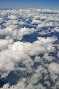 Does it amuse anyone else that this cloud's name is cumulus mediocris? Just seems fitting ... Photo credit: Wikipedia.