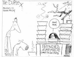When part of a pecan tree fell on the other side of the duplex I lived in, causing a power surge, John drew this to make me feel better. Cartoon by John Deering