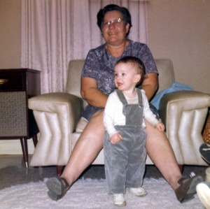 In my pre-goofy days, with Nanny Opal.