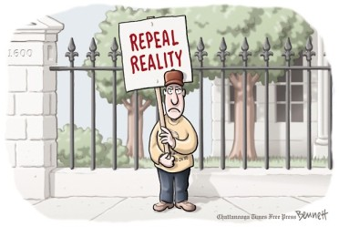 Damn reality ... always messing up a good rant. Cartoon by Clay Bennett, Chattanooga Times-Free Press.