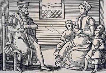 A typical  Puritan family household in the 16th Century, free of such abominations as Christmas. Image from History for Kids.