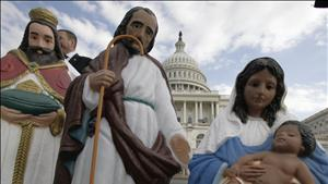 Life-size creche in front of unknown Capital building. Image from American Center for Law and Justice.