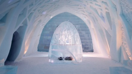 Not this cold, but you get the picture. Image of foyer at Ice Hotel in Kiruna, Sweden, from Bing Images.