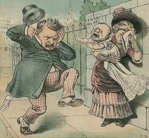 Classic Grover Cleveland political cartoon by New York illustrator Frank Beard from The Judge magazine.