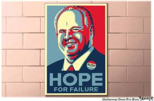 If you're hoping for Rushbo's failure, keep hope alive. His advertisers aren't. Cartoon by Clay Bennett, Chattanooga Times-Free Press.