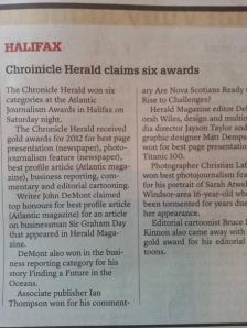 Nova Scotia Chronicle Herald can't even spell its own name. Image from poynter.org.