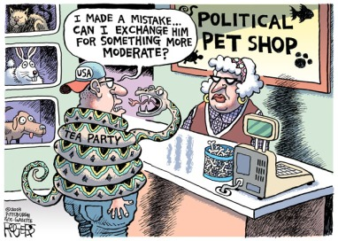 See? That's where he went wrong ... he should have gotten a cat. Cartoon by Rob Rogers, Pittsburgh Post-Gazette.
