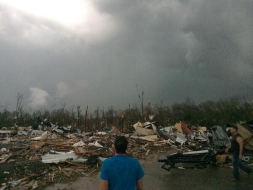Some of the devastation in Mayflower after the tornado Sunday. Image from KATV.