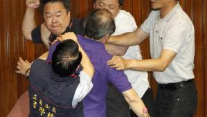 Yes, please, more brawls like this one between Taiwanese legislators. That'll accomplish a lot. Image from Associated Press.