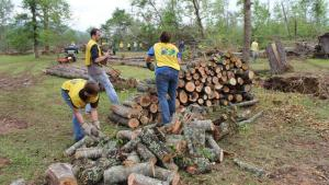 Volunteers clean up downed trees in central Arkansas. Image from mormonnewsroom.org