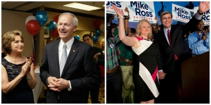 Images by The Associated Press. (left) Asa Hutchinson is applauded by his wife Susan and others as early vote totals are announced at his election watch party in Little Rock. (right) Former congressman Mike Ross and his wife Holly celebrate in Little Rock after winning the statewide Democratic primary election in the race for Arkansas governor.
