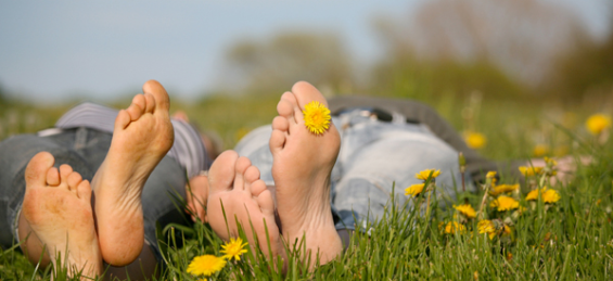 Ahhhh ... nothing like the feel of grass beneath bare feet ... I'll probably find the one sharp rock in the field though.  Image from MagnoliaRouge.com.
