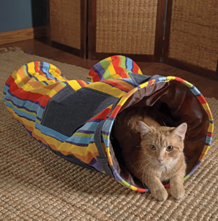 If it didn't remind me of clown pants, I might get this for Luke.  Crazy cat pants tunnel (catnip-infused, natch) from Doctors Foster and Smith.