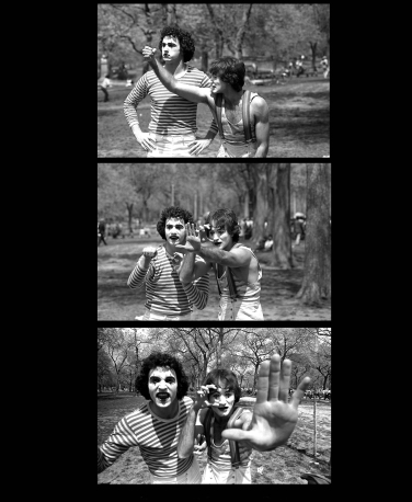 Daniel Sorine took these pictures of Robin Williams and a miming partner (believed to be Todd Oppenheimer) in Central Park in 1977.