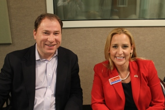 David Sterling and Leslie Rutledge during an interview last month at KUAR. Believe it or not, she was the lesser of two evils in the Republican runoff. Photo by Michael Hibblen / KUAR News.