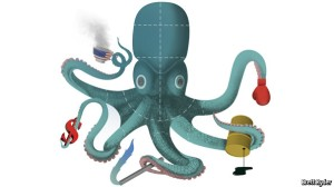 Run ... it's the Kochtopus! Image by Brett Ryder, from The Economist.