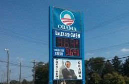 "No, there aren't ""Obamastations"" giving free gas to minorities and the poor. Image from satirical news site The Daily Currant."