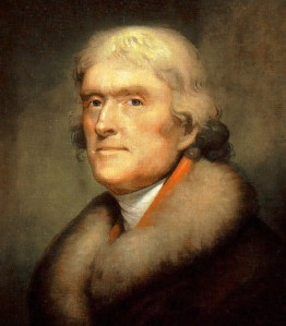 Go ahead ... he's used to it by now. Portrait of Thomas Jefferson by Rembrandt Peale, 1805.