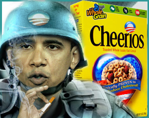 "Yes, Rush Limbaugh decided that Barack Obama declared war on Cheerios because the FDA sent General Mills a warning letter about their advertising. Must have been a slow ""news"" day. Image from RushLimbaugh.com."
