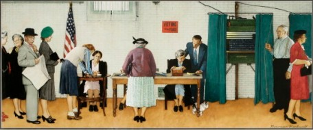Election Day, 1944, by Norman Rockwell. Pity elections no longer are as quaint as this.