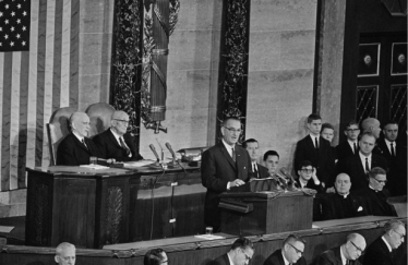 President Lyndon B. Johnson declared a War on Poverty in his first State of the Union address in 1964.  AP Photo found on The Nation.