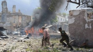 This, via the BBC, is a war zone in Mogadishu, Somalia.