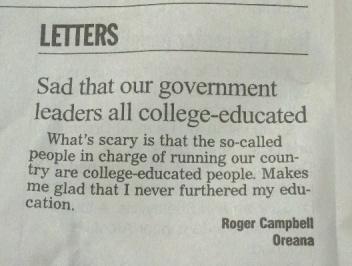 Wait ... I'm college-educated! Image found on Random Misanthrope.