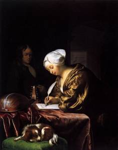 Not all letter-writing is as picturesque. The Letter Writer 1680. Oil on panel 25 x 20 cm. Rijskmuseum, Amsterdam.
