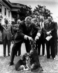 In 1964, President Lyndon B. Johnson lifts his beagle Her by the ears, intending to help photographers, but illustrating, instead, the awkward gap between himself and John F. Kennedy. Image by Charles P. Gorry, AP.