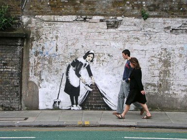 That's the way to clean. Artwork by Banksy, via Twisted Sifter.
