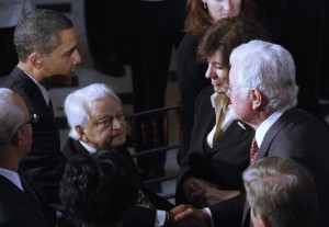 President Barack Obama shakes hands with Victoria Kennedy  as husband Sen. Edward Kennedy shakes hands with Sen. Robert Byrd  during the luncheon after Obama's inauguration on Jan. 20, 2009. Image by Harry Hamburg-Pool/Getty Images.