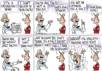 I feel this scientist's pain. Cartoon by Joe Heller found on Patheos.