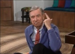 Mr. Rogers is soooo not feeling neighborly toward people lying about him. Image found on Who2.