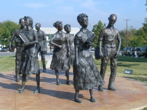 Testament, sculpture of Little Rock Nine on Arkansas Capitol grounds, by John Deering.