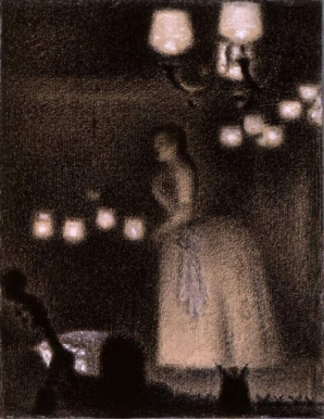 Woman Singing in a Café Chantant, drawn by Georges Seurat.