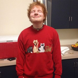Yep, he's rockin' that sweatshirt. Image from Ed Sheeran's Instagram via SugarScape.