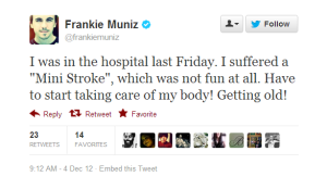 Frankie Muniz's tweet after his first stroke. Image found on Crushable.