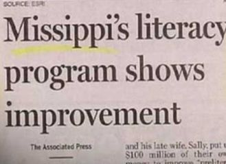 The writer obviously didn't learn the M-I-crooked letter-crooked letter bit a lot of us Southern kids did. Image found on SlipTalk.