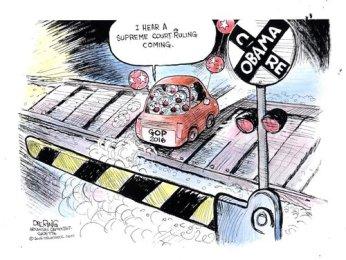 Editorial cartoon by John Deering.