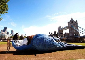 This 50-foot Norwegian blue was dropped in a London Park last July to promote a Python reunion. I'm fairly sure he's not just resting. Image found on Kuriositas.