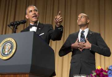 Perhaps Obama's next job will be stand-up ... he held his own with Keegan-Michael Key (as Luther, Obama's anger translator). Image by Joshua Roberts, Reuters, via Daily Kos.