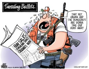 You don't suppose gun and ammo manufacturers would have an agenda, would ya? Cartoon by Jeff Parker, Florida Today.