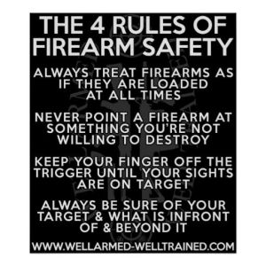 "Here's what we learned in gun-safety courses in 4-H ... strange ... it doesn't appear that ""have as many guns as possible so you feel safe (but everyone else doesn't)"" is on there. Image found on Pinterest."