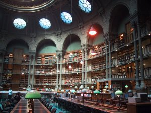 Yeah, I could just live in places like this ... I love libraries. Image of National Library, Site Richelieu, Paris, France, found on FlavorWire.