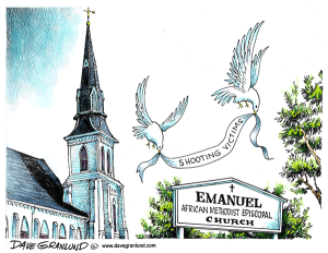 If anyone's politicizing this tragedy, it's not the people of Charleston. We should take note. Cartoon by Dave Grunland.