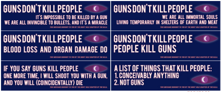 Yes, please, let's point out the illogic of that slogan. Image found on The Truth About Guns.