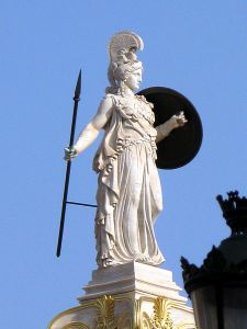 Athena was someone you did not want to mess with ... goddess of war, truth, wisdom, purity, crafts and all-around ass-kicking. Column of Athena, by Leonidas Drosis, in front of the Academy of Athens/Image found on Wikimedia Commons.