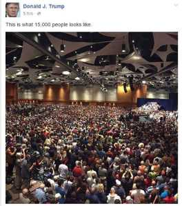 On Facebook, The Donald swore there were 15,000 people here, despite the fact that the people who actually counted said it was less than a third of that. Image found on DailyKos.