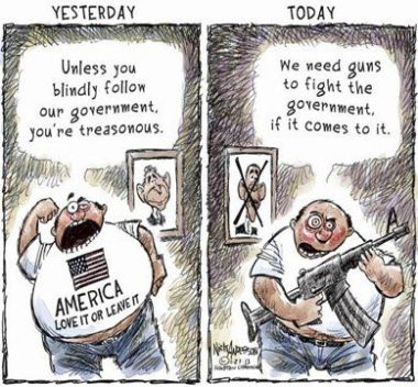 OK, what counts as patriotism today? I didn't get the memo. Editorial cartoon by Nick Anderson, Houston Chronicle.